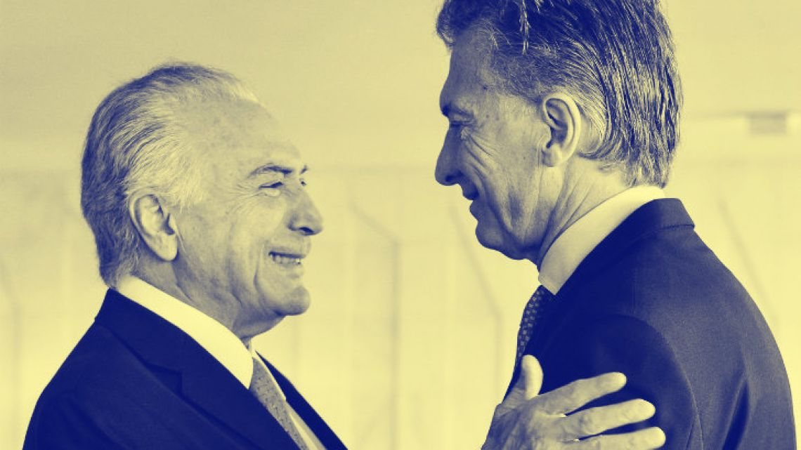 President Mauricio Macri (right) greets his Brazilian counterpart, Michel Temer, during an event in 2017.