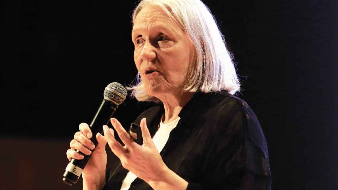 Saskia Sassen, pictured during her recent keynote address at the Usina del Arte in La Boca.
