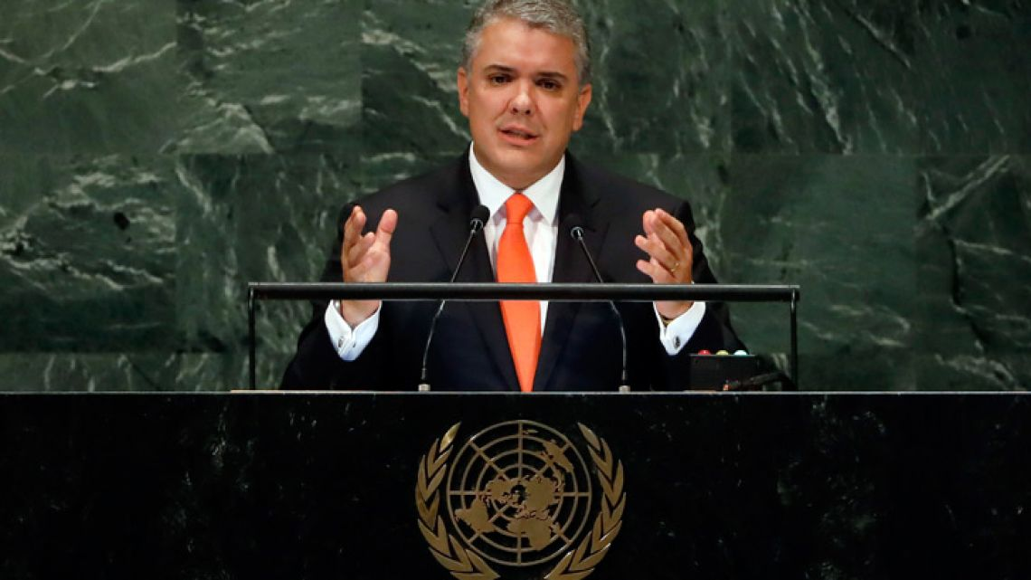 Colombia's President Iván Duque addresses the 73rd session of the United Nations General Assembly at UN headquarters last week.