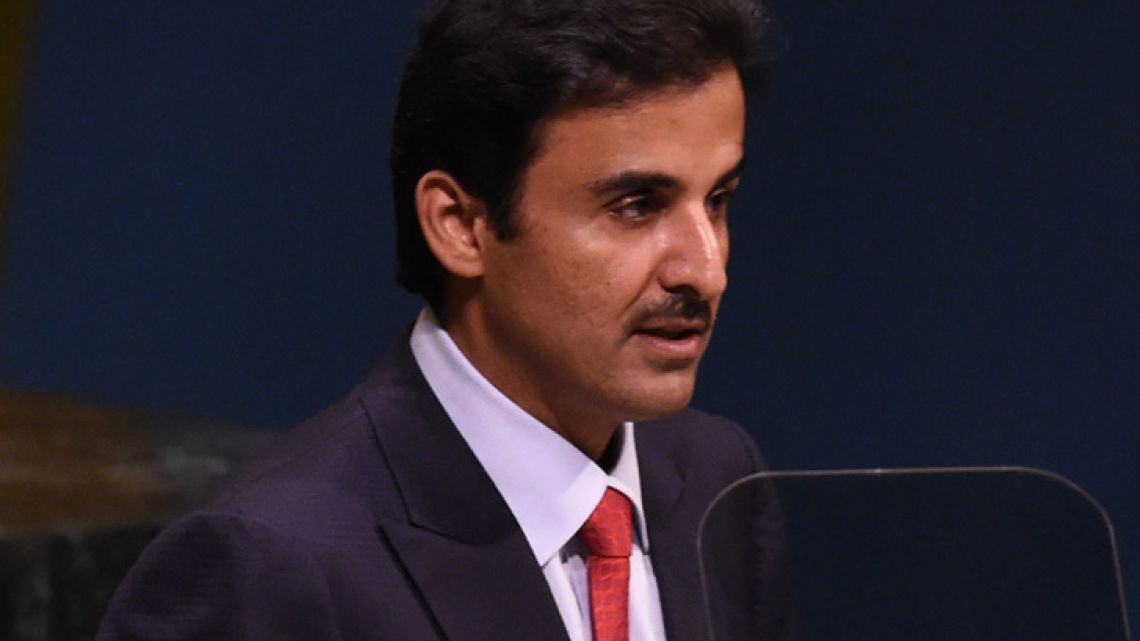 Qatar Emir Tamim bin Hamad Al-Thani speaks at the General Debate of the 73rd session of the General Assembly at the United Nations on September 25, 2018 in New York.