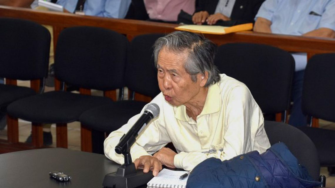In this handout file photo released by the Peruvian Judiciary on April 20, 2018, former president (1990-2000) Alberto Fujimori speaks in court in Lima. A Peru judge annuled on October 3, 2018 ex-president Alberto Fujimori's pardon, and ordered arrest, official sources informed.