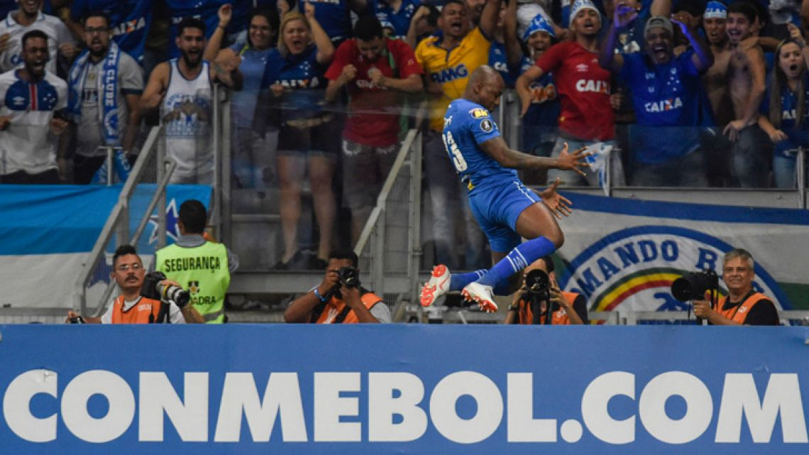 Sassa of Brazil's Cruzeiro, celebrates his goal against Argentina's Boca Juniors, during their 2018 Copa Libertadores match held at Mineirao stadium, in Belo Horizonte, Brazil, on October 4, 2018.