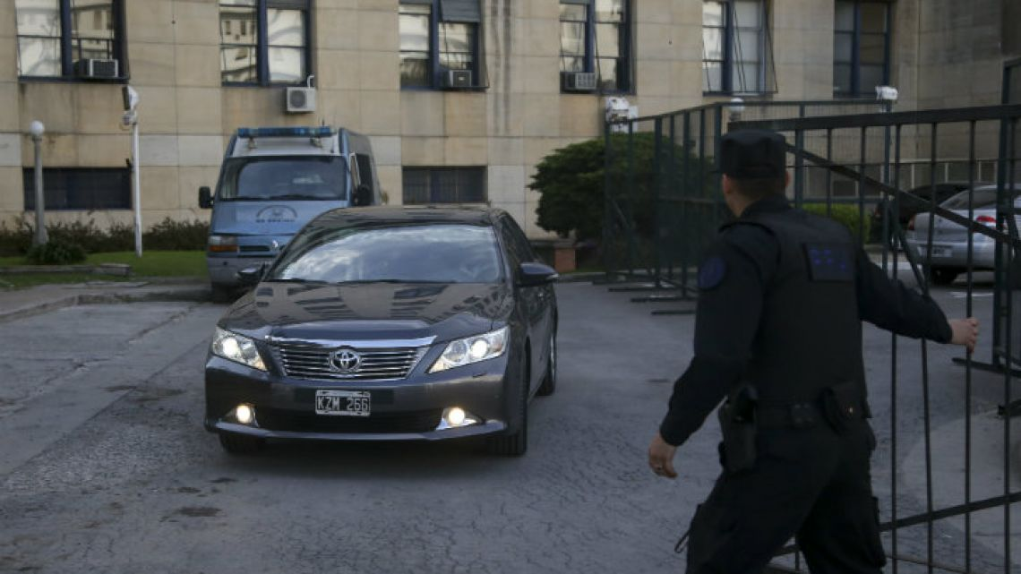 Businessman and owner of Techint, Paola Rocca, arrives at the Comodoro Py Courthouse to deliver testimony.