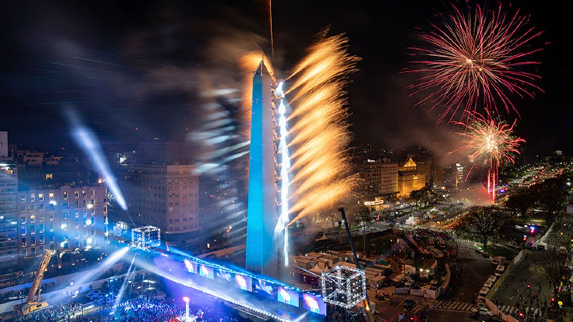 Fireworks burst during the opening ceremony of the Youth Olympic Games, on Avenida 9 de Julio, Buenos Aires, Argentina on Saturday, October 6, 2018.
