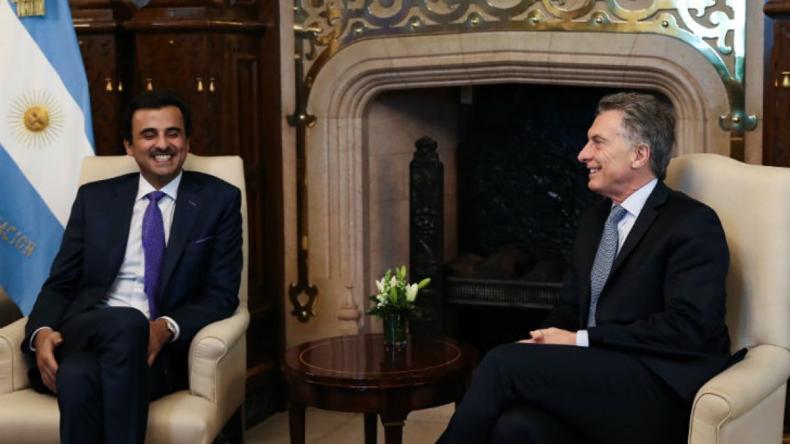 Emir Tamim bin Hamad Al Thani and President Mauricio Macri meet at the Casa Rosada last week.