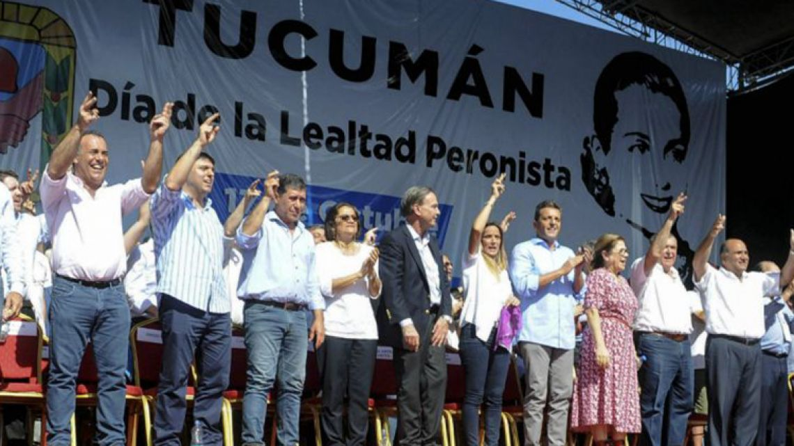 "Peronist leaders gathered in Tucumán for October 17 ""Loyalty Day"" activities."