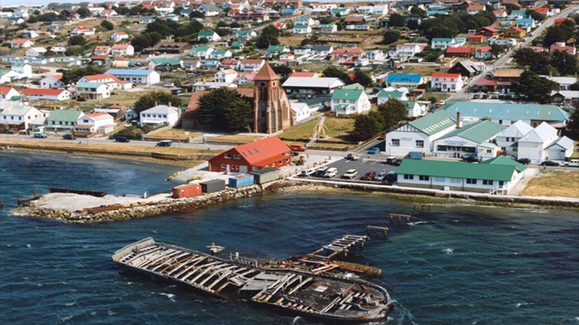 A birds-eye view of Stanley, the capital of the Malvinas Islands.