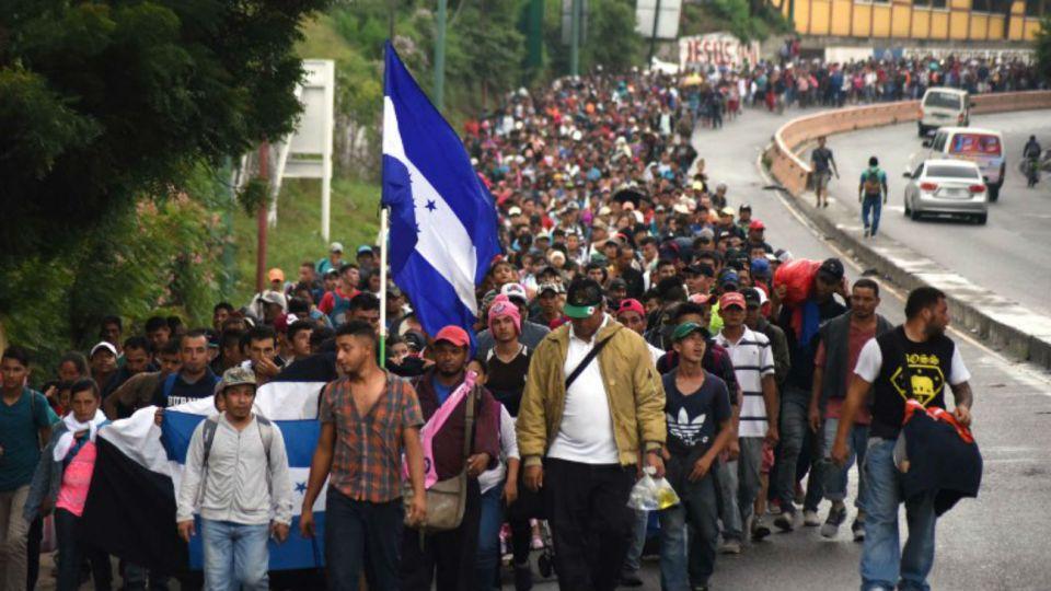 Migrantes hondureños en una caravana hacia los Estados Unidos en Chiquimula, Guatemala, el 17 de octubre de 2018.