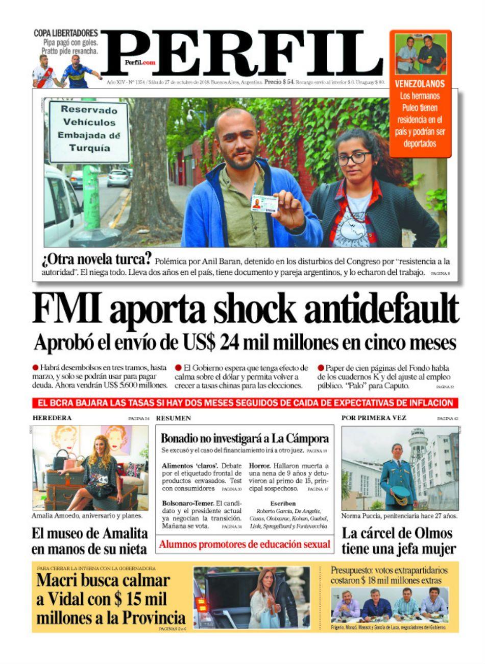 La tapa de la edición impresa de Diario PERFIL del sábado 27 de octubre de 2018.