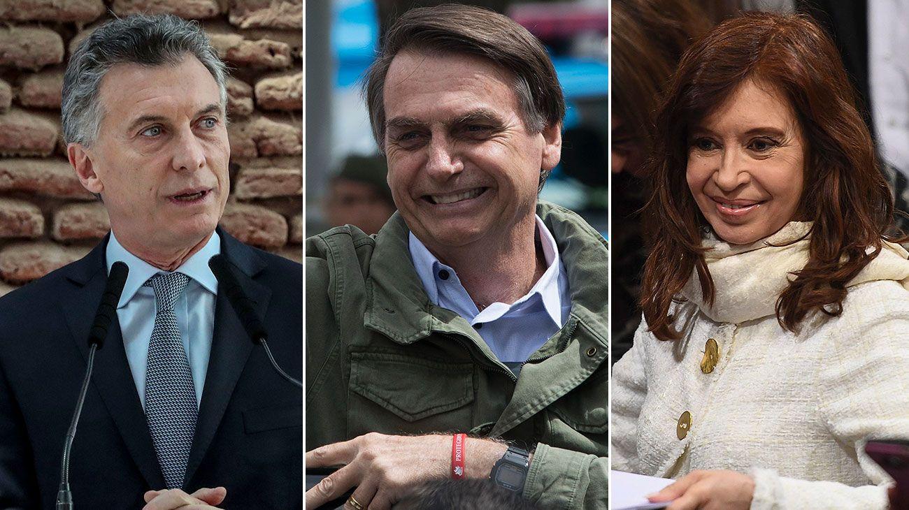 Mauricio Macri, Jair Bolsonaro y Cristina Fernández de Kirchner