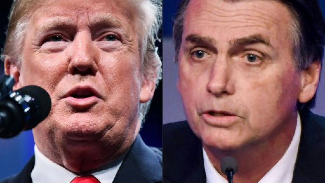 This combination of pictures created on October 08, 2018 shows US President Donald Trump (L)  and Brazilian presidential candidate Jair Bolsonaro (PSL). Brazil's election of the hard-right Jair Bolsonaro gives Donald Trump a kindred spirit, with the Americas' two most populous nations to be ruled by brash presidents in tune on issues from climate change to Israel.