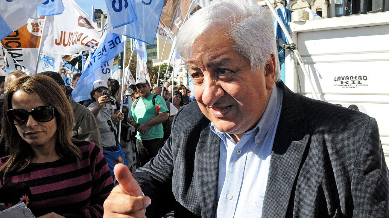 El secretario general de la Union de Empleados Judiciales de la Nacion, Julio Piumato