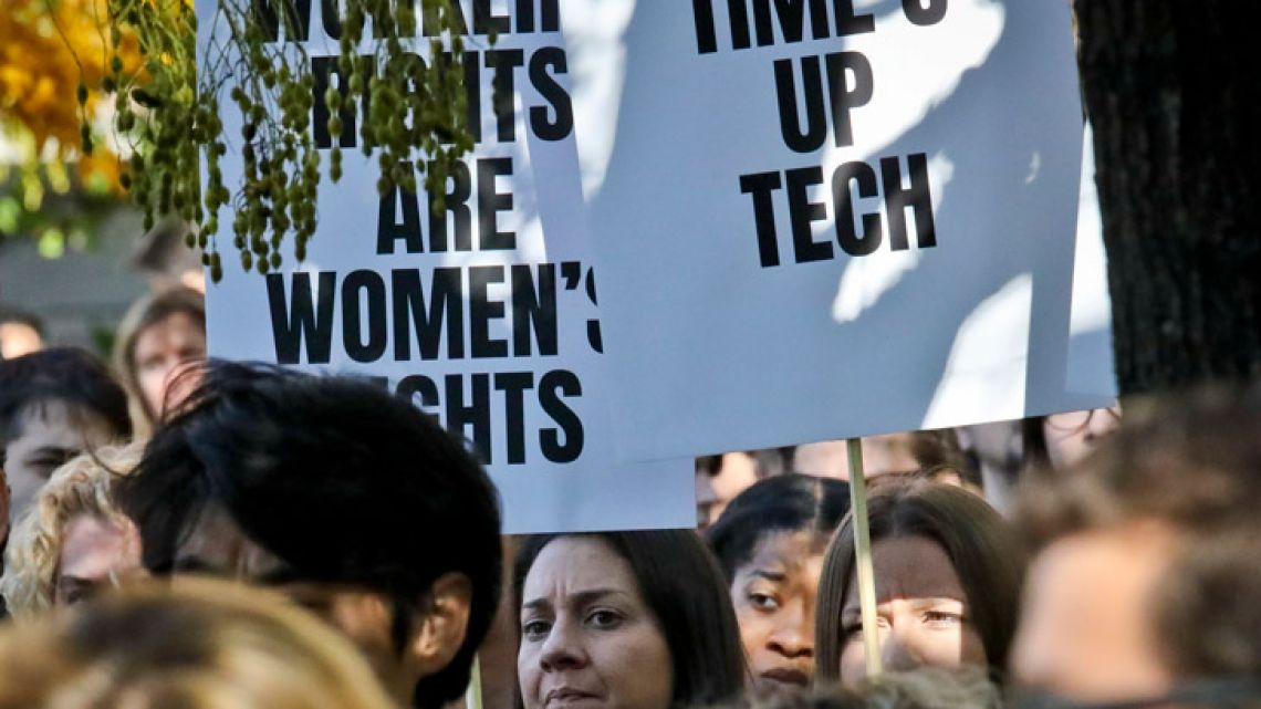 Google employees in New York listen to speakers during a protest rally on Thursday.
