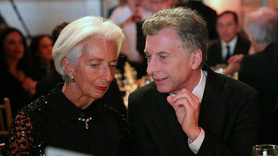Mauricio Macri junto a la directora del FMI, Christine Lagarde.