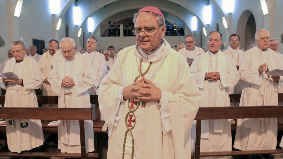 El obispo de San Isidro, Oscar Ojea, durante la 116° Asamblea Plenaria de la Conferencia Episcopal Argentina (CEA).