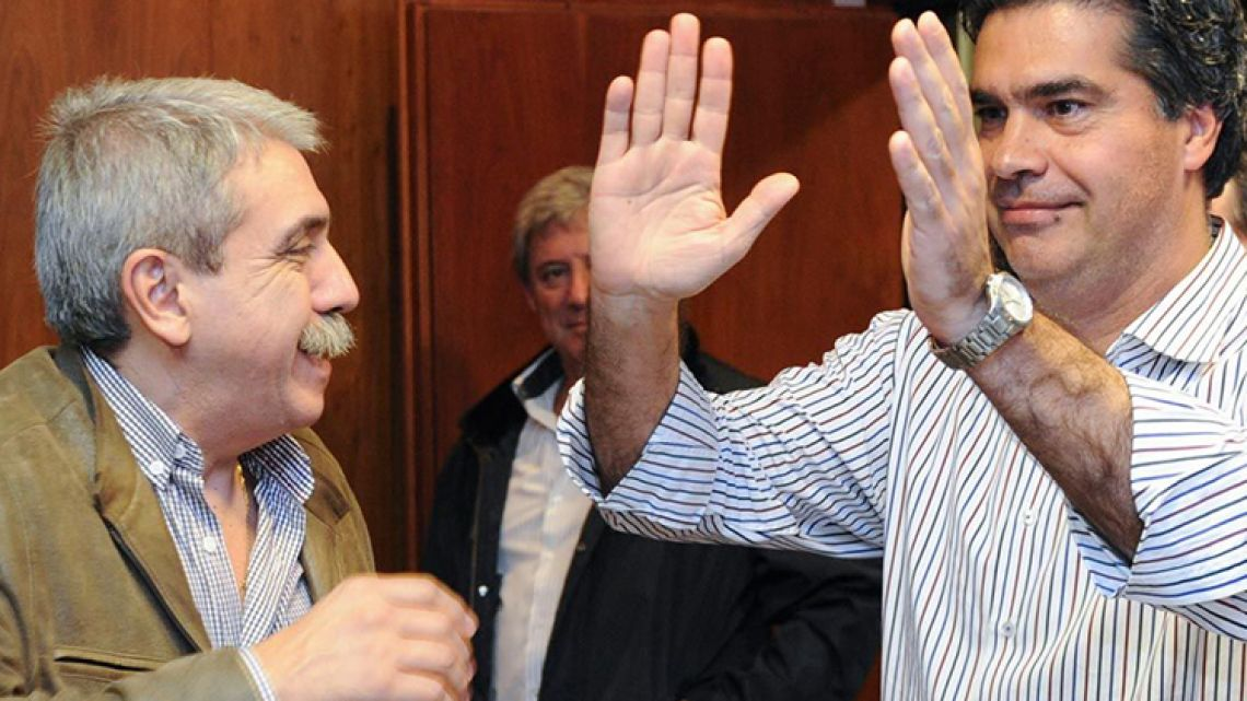 Former Cristina Kirchner government officials Aníbal Fernández (left) and Jorge Capitanich.