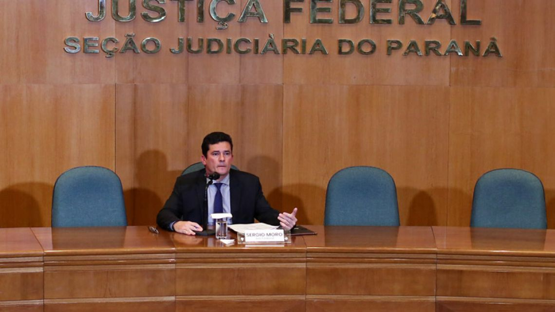 Federal Judge Sergio Moro, Brazil's next Justice and Public Security minister, speaks during a press conference at the Federal Justice Court in Curitiba on Tuesday.