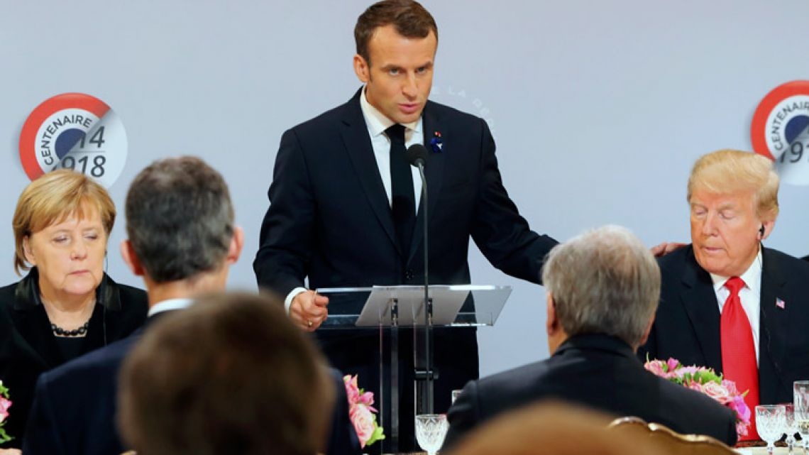 French President Emmanuel Macron speaking at the Elysee Palace in Paris during commemorations marking the 100th anniversary of the 11 November 1918 armistice.