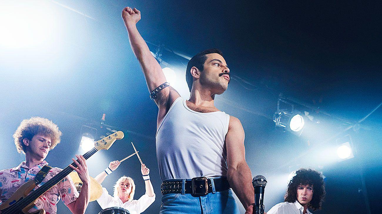 LIVE AID. Malek, como Mercury, en el concierto en Wembley Stadium de 1985 que cambió a Queen.