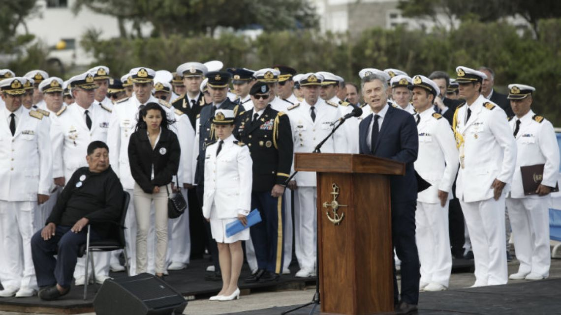 Flanked by the Navy's high command, President Mauricio Macri speaks during a ceremony marking the one-year anniversary of the disappearance of the ARA San Juan in Mar del Plata on Thursday.