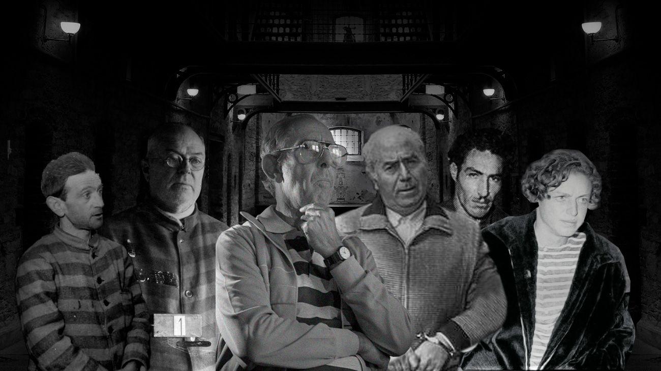 De izquierda a derecha. El Petiso Orejudo; El Mate Ocho; Ricardo Barreda; Arquímedes Puccio; El Loco del Martillo y Robledo Puch, algunos de los asesinos más recordados de la historia argentina.