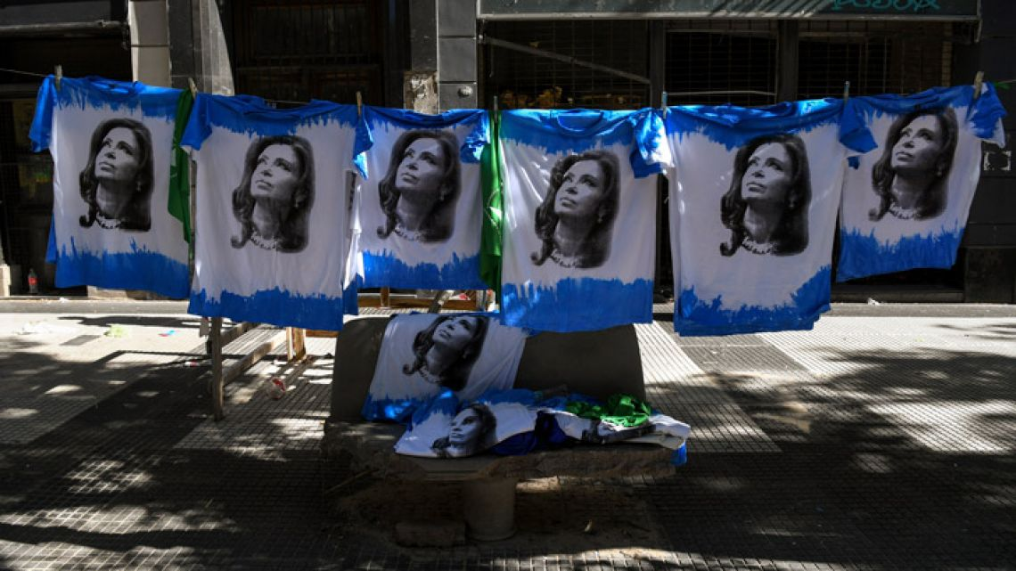 T-shirts depicting former President Cristina de Fernández de Kirchner are displayed for sale during a protest outside the Congress building on November 14, 2018.