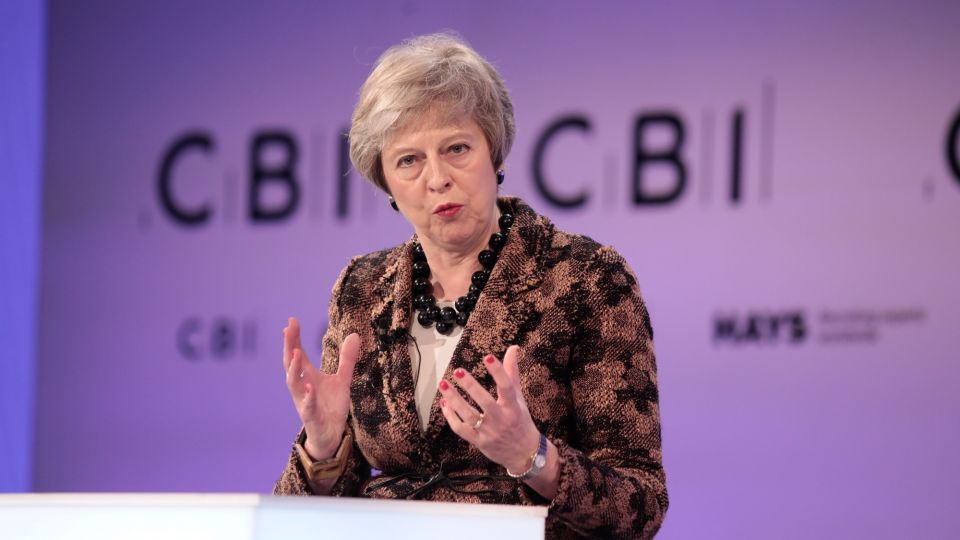 U.K. PM Theresa May Asks CBI Conference To Back Her Brexit Deal