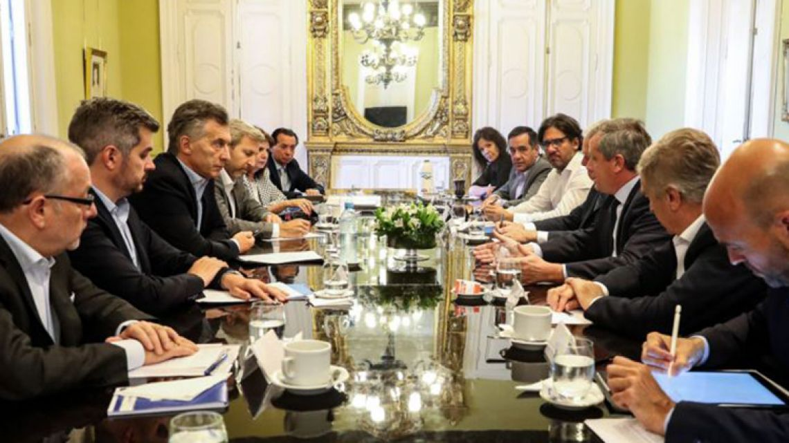 President Macri meets with his Cabinet (file).