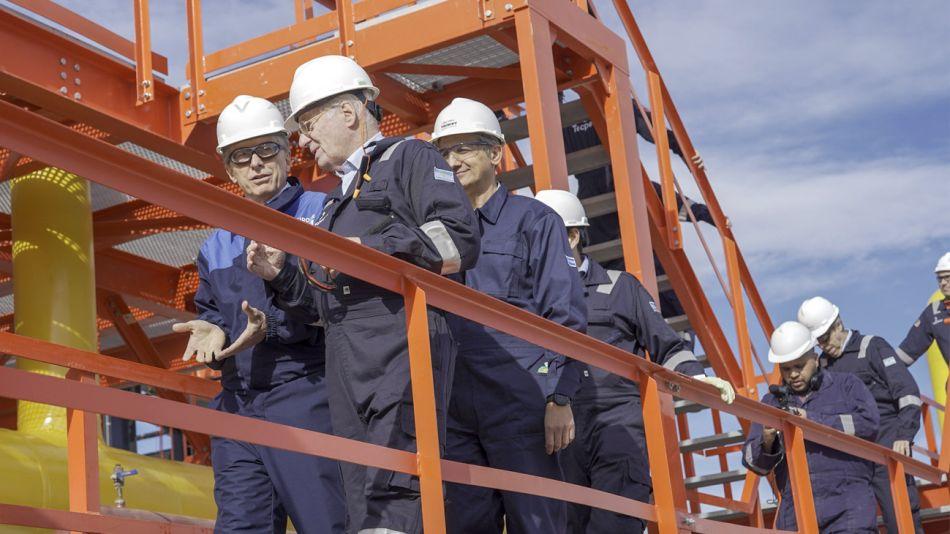 Mauricio Macri junto a Paolo Rocca, en Vaca Muerta