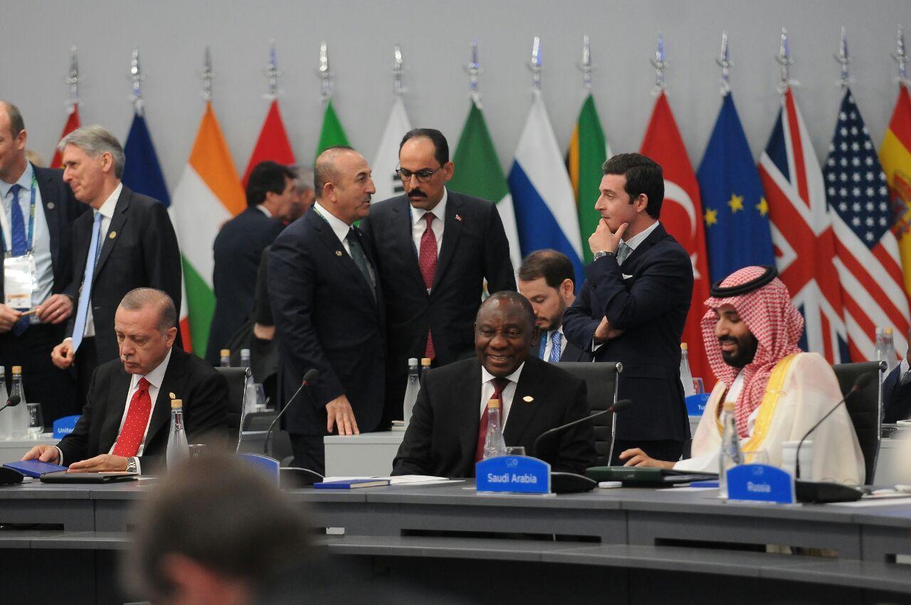 Recep Tayyip Erdogan (Turquía), Cyril Ramaphosa (Sudáfrica) y Mohamed bin Salman, príncipe heredero de Arabia Saudita.