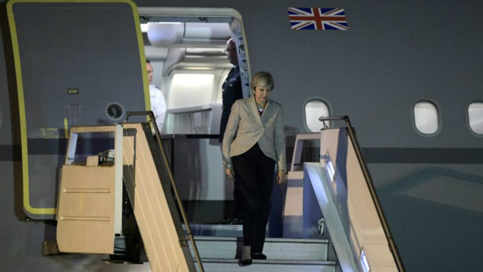 Theresa May a su llegada a la Argentina.