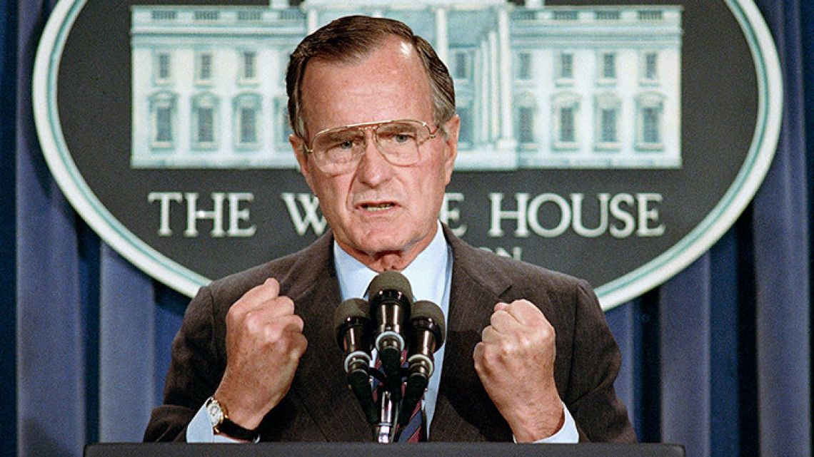 In this June 5, 1989 file photo, then-US President George H.W. Bush holds a press conference at the White House in Washington. Bush died at the age of 94 on Friday, November 30, 2018, about eight months after the death of his wife, Barbara Bush.
