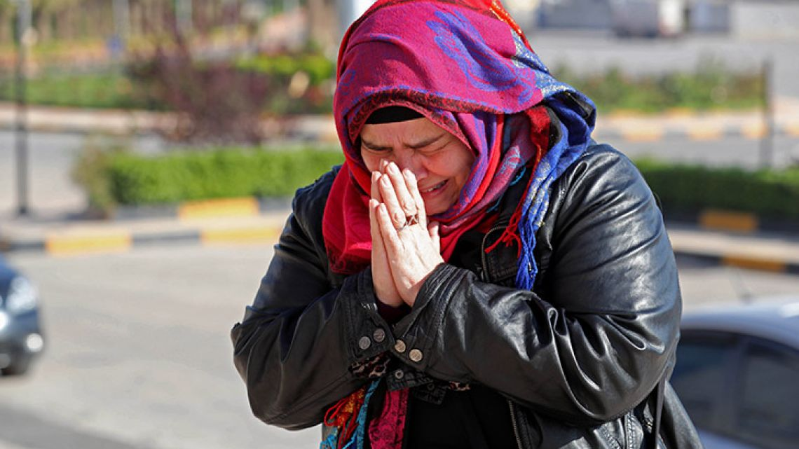 Nancy Roxana Papa, an 54-year-old Argentine who was recently released after being kidnapped since 2016, speaks to the press at the Bab al-Hawa crossing with Turkey on October 30, 2018, ahead of being handed over to Turkish authorities. Papa, a history teacher from Buenos Aires, accepted the invitation of a Syrian man she had met online three years earlier and travelled to Turkey in 2016.