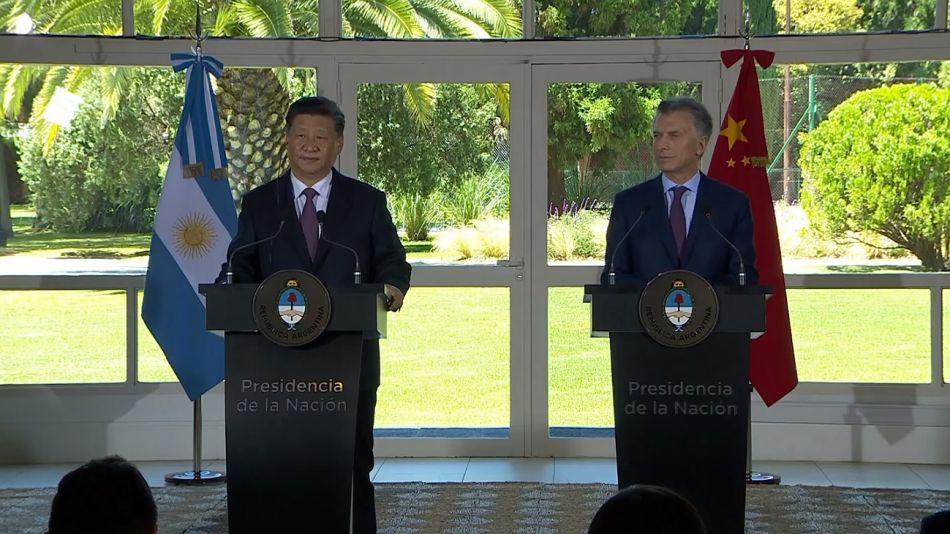 Xi Jinping y Mauricio Macri durante la conferencia de prensa.
