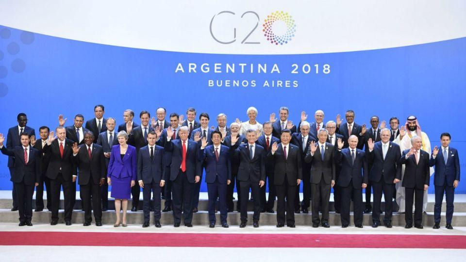 Los líderes del G20 al inicio de la cumbre.