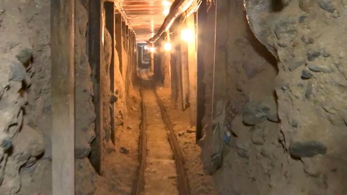 The frame shows one of two tunnels that were apparently used by the Sinaloa drug cartel to move drugs into the United States.