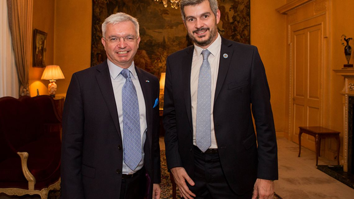 British MP Mark Menzies with Argentina's Cabinet Chief Marcos Peña, during an official visit to London in June, 2018.