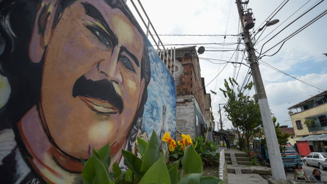 A mural, photographed in the Pablo Escobar barrio in Medellín, Colombia.