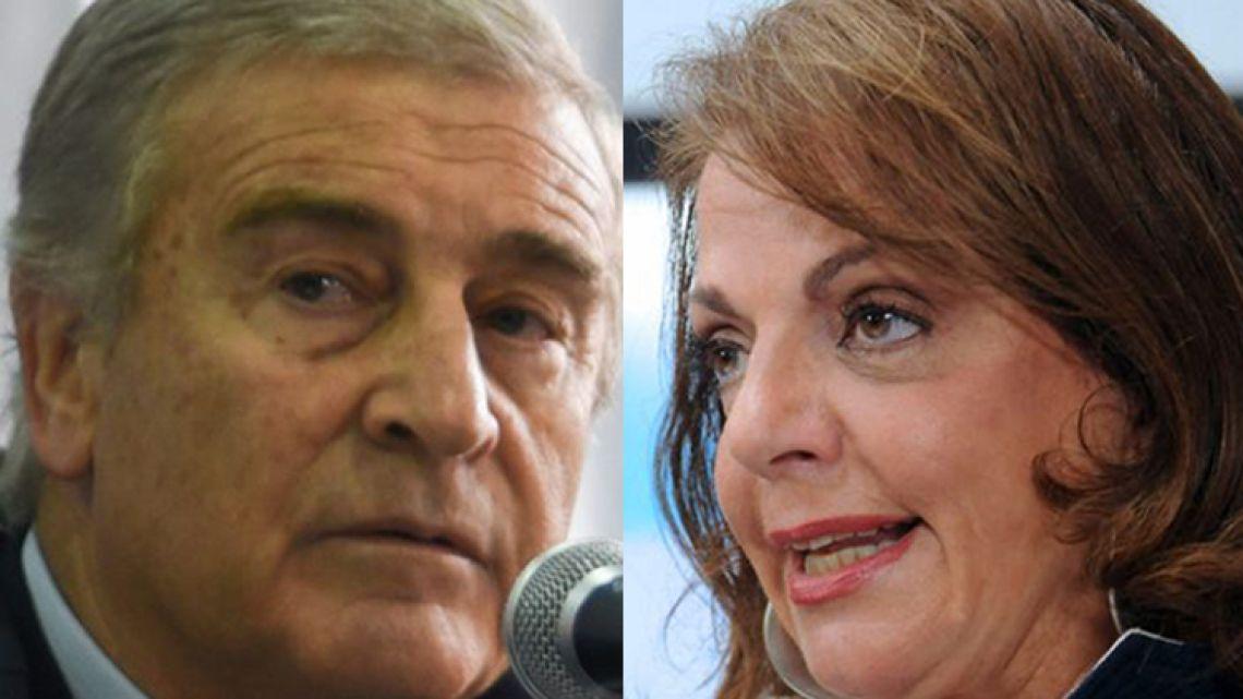 Defence Minister Oscar Aguad (left) and former Defence Minister Nilda Garré.