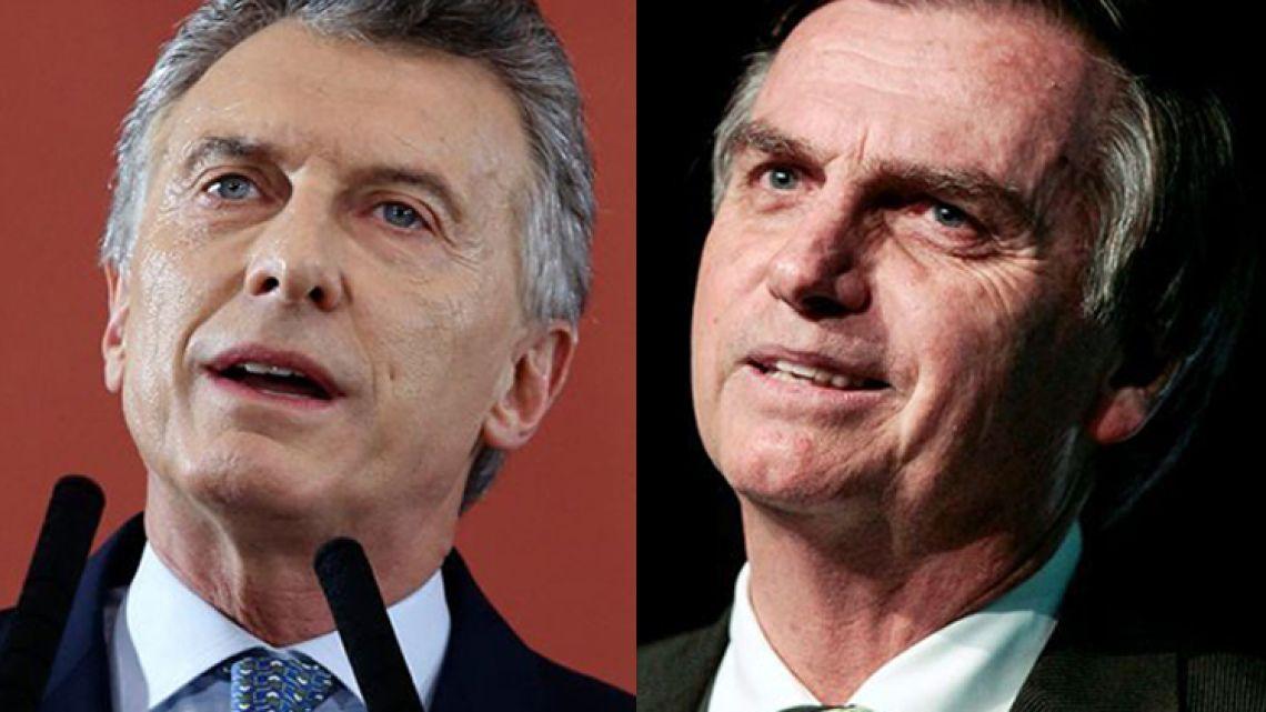 President Mauricio Macri (left) and Jair Bolsonaro.