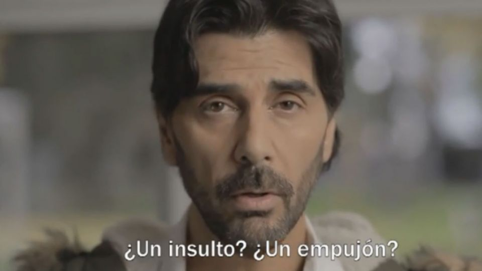 Juan Darthés en un spot publicitario sobre violencia
