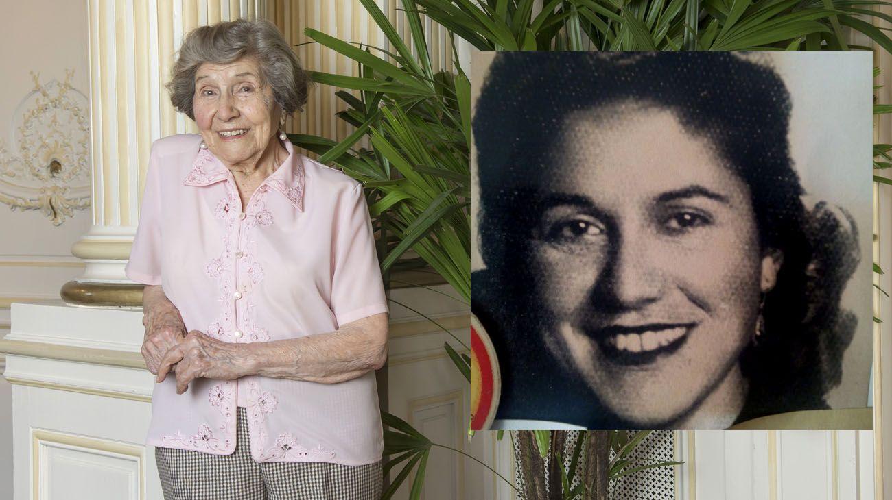 La historiadora en el festejo de su centenario, y en su juventud.