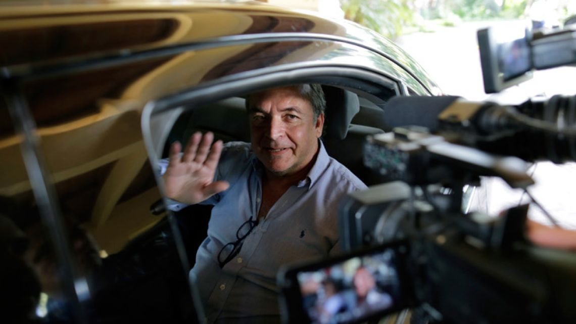 Amerigo Incalcaterra, member of the Inter-American Commission on Human Rights' (IACHR) Interdisciplinary Group of Independent Experts (GIEI) for Nicaragua, waves as he leaves his hotel and heads to the airport.