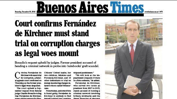 Tapa y los temas principales de Buenos Aires Times