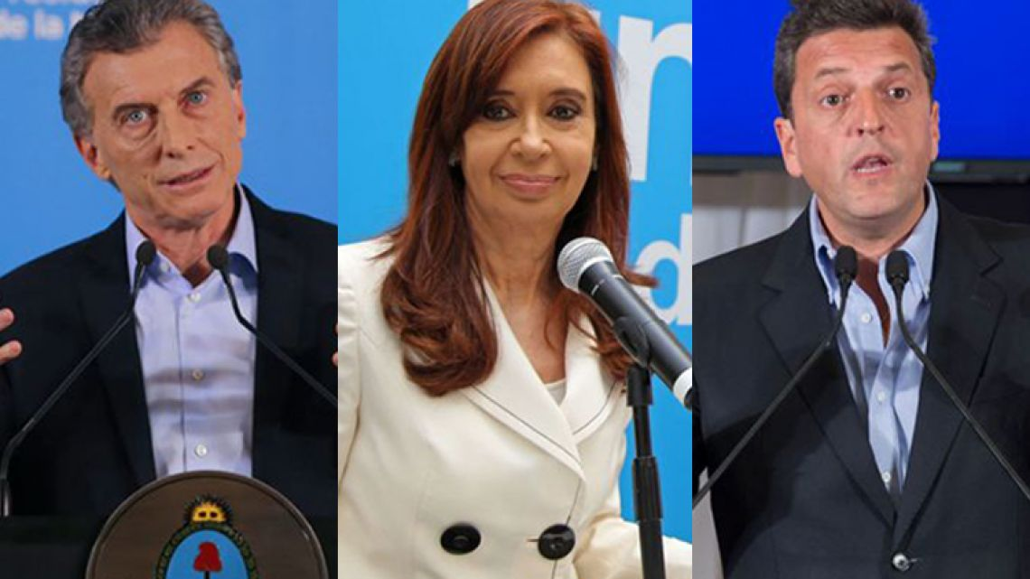 Left to right: President Mauricio Macri, Cristina Fernández de Kirchner, and Sergio Massa.