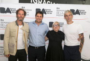 Gabriel Brener, CEO María Cher; Juan Seco, DG Distritos Económicos; Fabian Paz, Diseñador Valdez y Vero Ivaldi, Coordinadora BA Moda