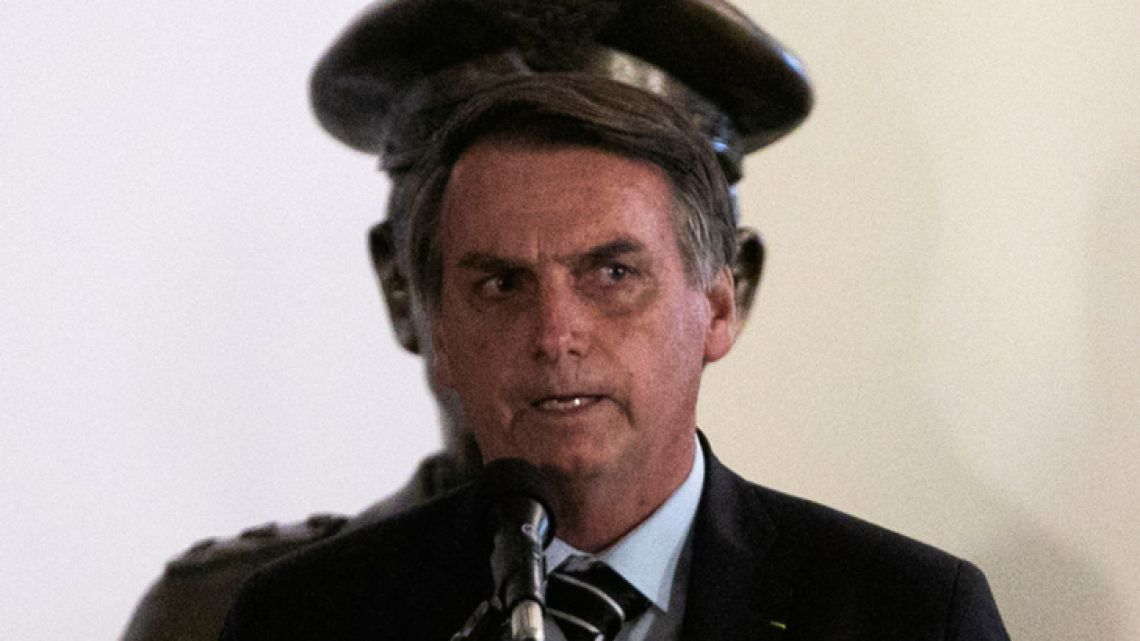 Brazil's new president, Jair Bolsonaro, speaks at the handover of his new Defence Minister Fernando Azevedo e Silva in Brasilia on January 2, 2018.
