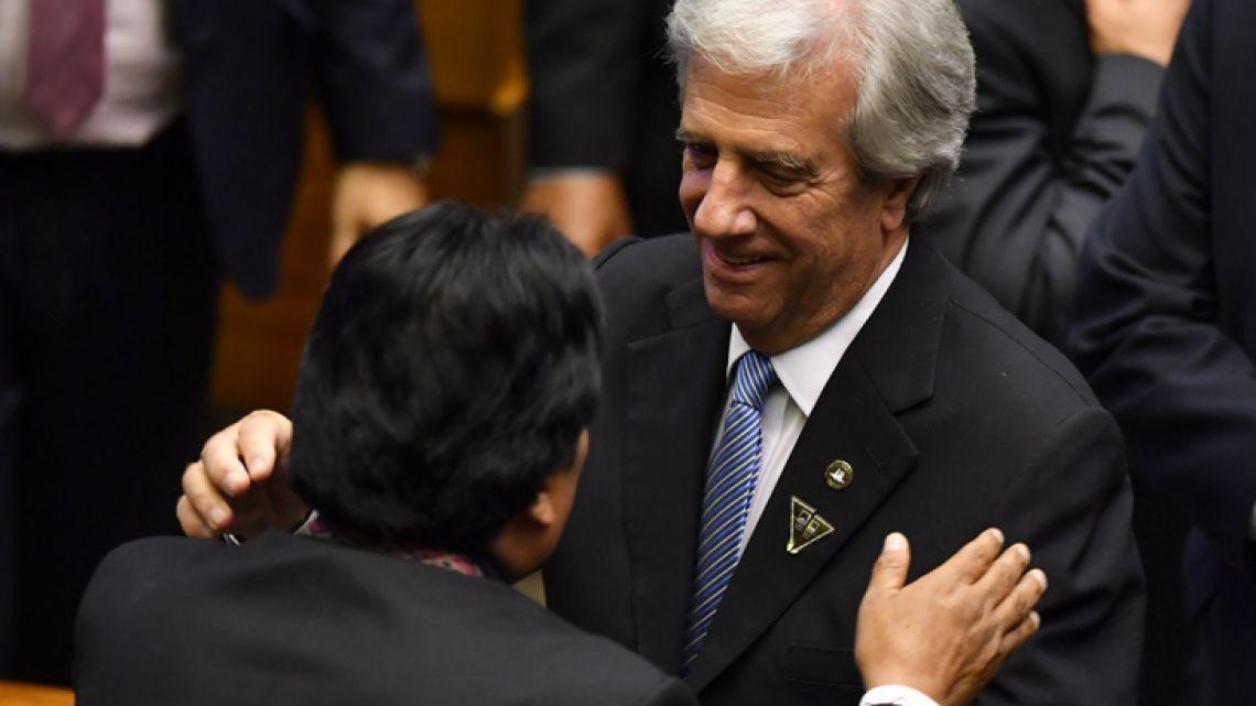 Bolivia's President Evo Morales (left) greets Uruguay's President Tabaré Vázquez, during Brazil's President Jair Bolsonaro's inauguration ceremony in Brasilia on January 1.