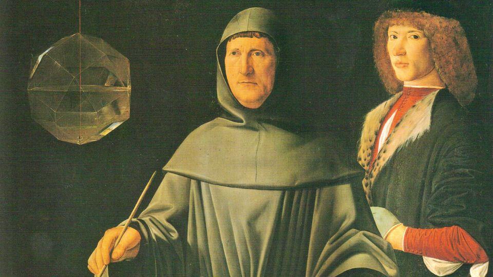 Detalles. La fe, según Leonardo en Anunciación; la ciencia, por Jacopo de'Barbari en su retrato del matemático Luca Pacioli.