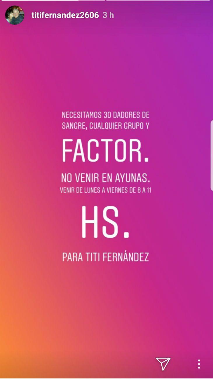 El pedido de dadores de sangre para Tití Fernández